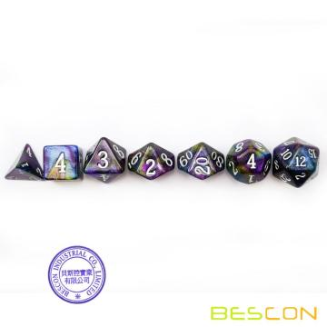 Bescon Starry Night Dice Set Series, 7pcs Polyhedral RPG Dice Set Milky Way, Tinbox Set