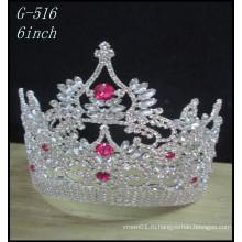 Оптовые свадебные серебряные ювелирные изделия Тиара дети принцесса розовые конкурсные короны