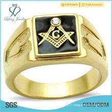 Black Square Masons Masonic Ring Gold EP Lifetime Guarante