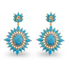 Blue AAA Cubic Zircon Stone Environmental Copper Chandelier Earrings