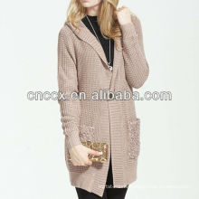 13STC5390 long hooded cardigan sweater