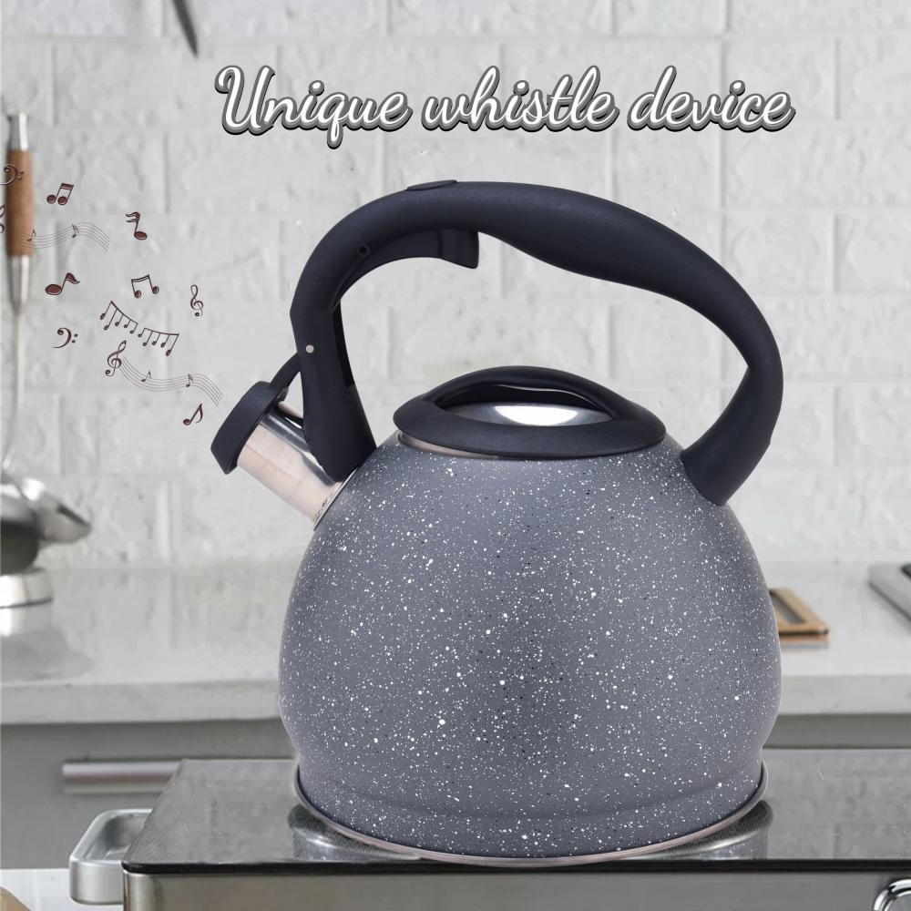 Grey Durable Color Stainless Steel Whistling Tea Kettle