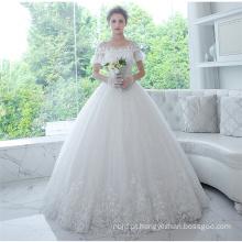 Guangzhou on-line manga curta aplicada nupcial vestido de noiva Vestidos