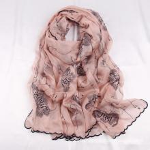 Wholesale Luxury Floral Embroidered Silk Head Scarf Fashion Women Hijab Bufandas