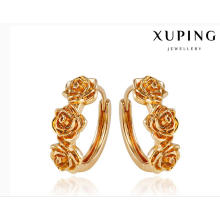 92008 Fashion Elegant 18k Gold-Plated Metal Alloy Flower-Shaped Jewelry Earring Huggie