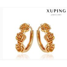 92008 moda elegante 18 k banhado a ouro liga de metal em forma de flor brinco de jóias huggie