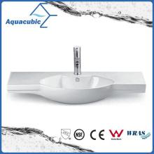 Semi-Recessed Bathroom Ceramic Cabinet Basin Hand Washing Sink (ACB2185)
