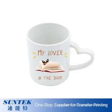 11oz Photo Ceramic Mugs Sublimation White Mug Blank with Heart Handle