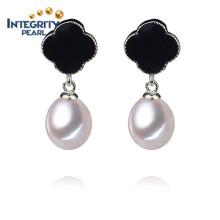 Pendiente de perlas de AAA Pendiente de moda chica con un pendiente de perla blanca
