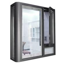Double glass bow window aluminium french casement louvered windows