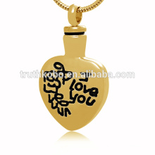 Vintage Miss you cremation jewelry heart shape cremation urn pendant necklace