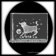 K9 3D Laser Taurus grabado bloque de cristal