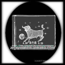 K9 3D Laser Taurus Etched Crystal Block