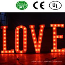 Signe de lettre d'ampoule de fer allumé par LED de haute qualité