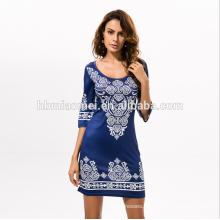 2017 women clothing manufacturer printed wholesale long sleeve Maxi dress