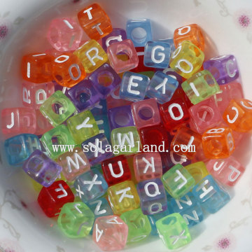 6*6MM Clear Square Cube Alphabet Letter Beads with Big Hole