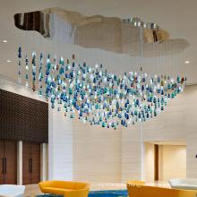 Customized Big Hotel Restaurant Villa Project Glass Stone Chandelier Light Fixture