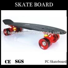 Black deck PU wheel transparent PC Skateboard