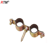 M7 double carbon steel pipe clamp with rubber m7x30 screw color-plated zinc pipe clip