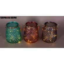 Decoración de muebles Artesanía de vidrio ligero con cadena de cobre Iluminación LED (9108)
