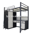 Hight Grade college dormitory room apartment bed with wardrobe and desk