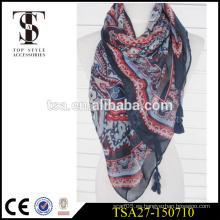 Bufanda cuadrada suave de la sensación de seda de la bufanda 100% de la señora 100% de la señora elegante con cuatro borlas grandes