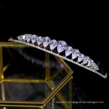 Acessórios para cabelo feminino requintado CZ Zircon Shinning Royal Wedding Tiaras Crown