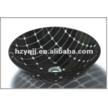 modern design double layer round colorful bowl lavatory glass basin glass bowl sink