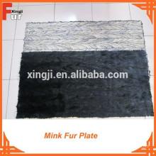 Primer color negro MINK piel de visón placa de piel de visón
