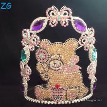 Coroa bonito lindo personalizado do urso para miúdos, cristais por atacado corações dos miúdos