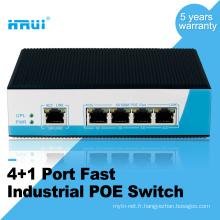 Usine prix 4 * 10 / 100M PoE port +1 Uplink 100 M industrielle Ethernet POE Commutateur