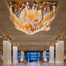Modern Hotel Restaurant Decorative LED Lighting Fixture Glass Chandelier