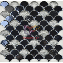 Black Marble and Glazed Ceramic Fish Scale Shape Mosaic (SA001)