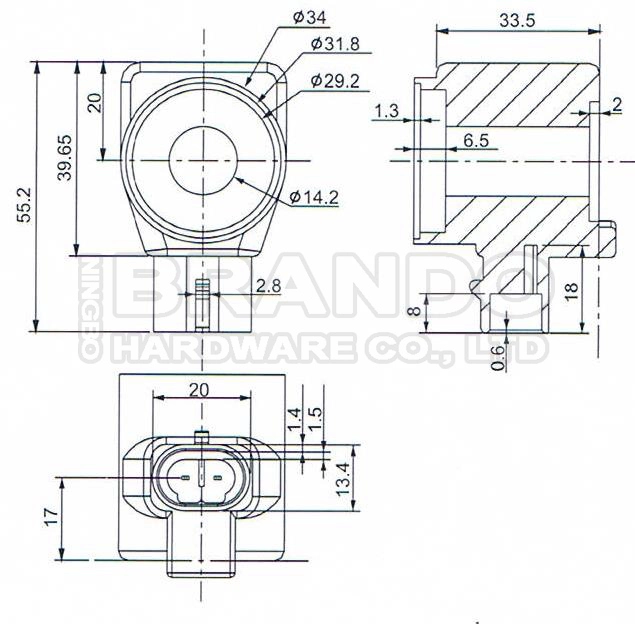 Dimension of BB14233517 Solenoid Coil: