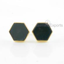 Pendientes de oro de 18k, joyería de los pendientes de la piedra preciosa del ágata del musgo para las mujeres