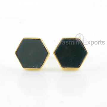 18k Золотые серьги, Моховой Агат драгоценного камня серьги ювелирных изделий для женщин