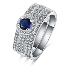 Silver Plated Brass Mirco Pave Sapphire Blue Wedding Ring (CRI0510-B)