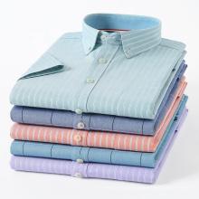 2021 New Men's Oxford Shirt Cotton Summer Short Sleeve Youth Pocket Stripes Wholesale
