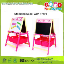 High Quality And Wholesale Standing Easel With Trays,Wooden Kids Board