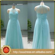 ASAP-04 Elegant Halter Neck Pleats Sleeveless Zipper Back Floor Length Long Bridesmaid Dresses