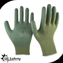 13 gauge knitted bamboo liner coated green normal foam nitrile gloves,breathable,working glove