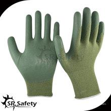 13-дюймовый трикотажный бамбуковый вкладыш с зеленым перфорированным перфорированным перчаткой, дышащая, рабочая перчатка