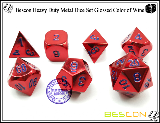 Bescon Heavy Duty Metal Dice Set Glossed Color of Wine-6
