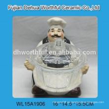 Diseño popular del cocinero de cerámica con el tazón de fuente de cristal