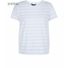 White Burn Out Streifen Kurzarm Baumwolle Damen T-Shirt