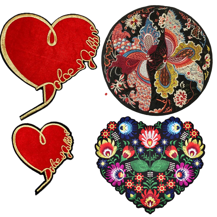 Heart Flower Emmbroidery Patches