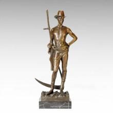 Soldaten Figur Statue Männlich Mähen Bronze Skulptur TPE-201