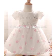 Filles de couleur blanche de haute qualité baptisant des robes de bébé d'anniversaire d'un an