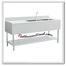 S313 1.8m Double Sinks Bench With Splashback and Under Shelf