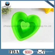 Silicona Bakeware pan con forma de corazón FDA aprobado Sc05